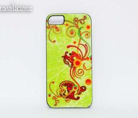 Lime Green iphone case, iphone 4/5 case, swirls, elegant, trendy, stylish case
