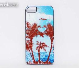 Tropical island design iphone case, custom printed, iphone 4/5, unique case, trendy case
