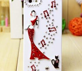 3d crystal iphone case, vintage design iphone case, iphone 5 case, crystals, studs, rhinestones, decorative case