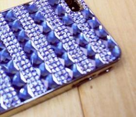 Hollywood Regency Crystal studded iphone case, iphone 5 case, handmade case, Deep blue crystals, Trendy, Chic, Hollywood Regency