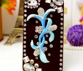 Designer iphone 5 case, black, floral, crystal, luxury, 3d, bling, handmade, iphone 5 case
