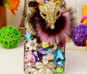 Crystal studded iphone 5 case, iphone case, iphone 5, handmade, faux fur, 3d, luxurious, designer case