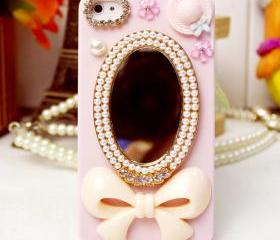 Pocket mirror iphone case, iphone 5, crystal, swarovski, iphone case, handmade, crystallized iphone case
