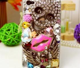 Designer case, Embellished iphone 5 case, crystals, studs, 3d, bling, ornate, lips, decorated, iphone case, phone case, handmade