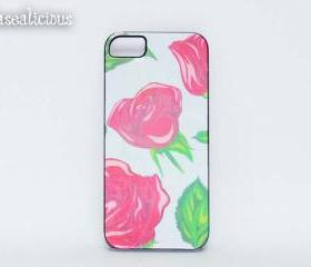 Designer style printed iphone case, iphone 4/5 case, pretty, trendy, vintage pink rose, chic