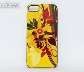 Pretty floral background iphone case, printed, yellow, flower, rose, iphone 4 iphone 5 case, iphone case iphone4, iphone5, cute, shabby, chic