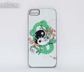 Yin and Yang iphone case, printed case, iphone 5, iphone 4 custom, handmade, yin and yang, asian, designer, dragon