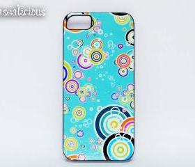 Turquoise blue iphone case, iphone 4/5 case, custom printed iphone case, handmade, retro, circles