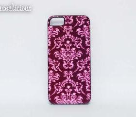 Burgundy damask printed iphone 4 case, pretty iphone 5 case, custom iphone 4/5 case, trendy iphone case, boutique, designer